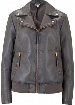 Куртка из искусственной кожи c эффектом потёртости bonprix. Цвет: серый