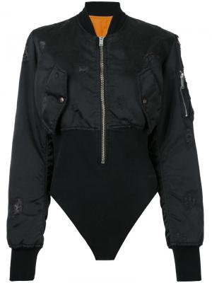 Bomber bodysuit Unravel Project. Цвет: чёрный