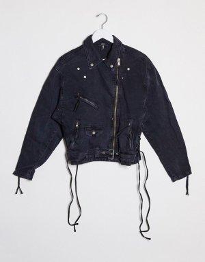 Джинсовая байкерская oversized-куртка -Черный Free People