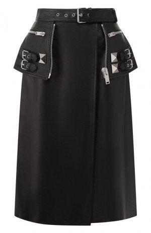 Кожаная юбка Alexander McQueen. Цвет: черный