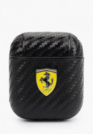 Чехол для наушников Ferrari Airpods, PU carbon effect with metal logo Black. Цвет: черный