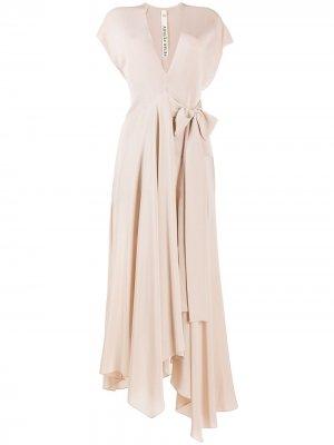 Платье миди асимметричного кроя Petar Petrov. Цвет: розовый