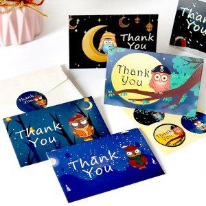 6 наборов поздравительная открытка & конверт наклейка с принтом совы SHEIN. Цвет: многоцветный