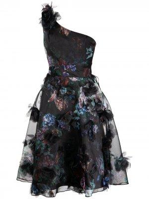 Коктейльное платье на одно плечо Marchesa Notte. Цвет: черный