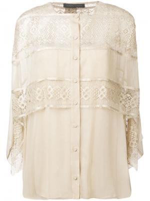 Кружевная ярусная блузка Alberta Ferretti. Цвет: коричневый