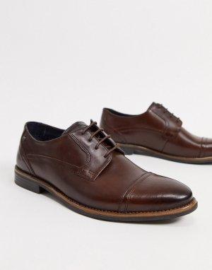Коричневые кожаные туфли на шнуровке -Коричневый Base London