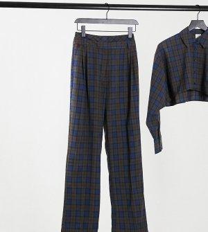Прямые брюки с двойным поясом в клетку от комплекта COLLUSION-Темно-синий Collusion