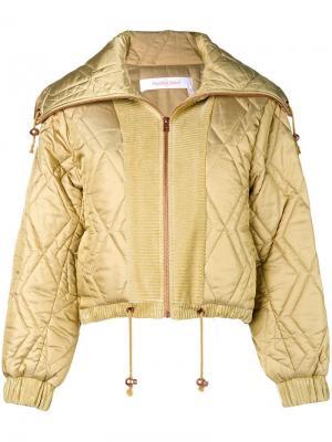Стеганая куртка-бомбер See By Chloé. Цвет: желтый