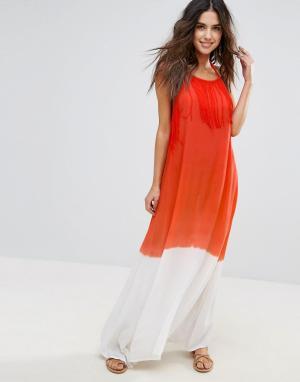 Пляжное платье макси Anmol. Цвет: оранжевый