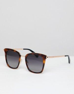 Черепаховые квадратные солнцезащитные очки LOVE Moschino. Цвет: коричневый