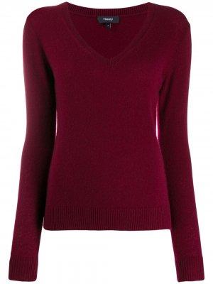 Кашемировый пуловер с V-бразным вырезом Theory. Цвет: красный