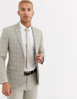Светло-бежевый узкий двубортный пиджак в клетку -Светло-бежевый цвет Topman
