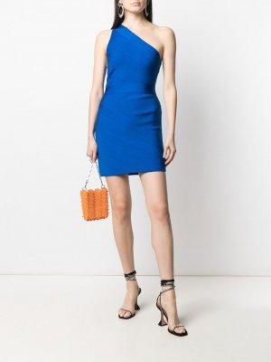 Платье мини Icon на одно плечо Hervé Léger. Цвет: синий