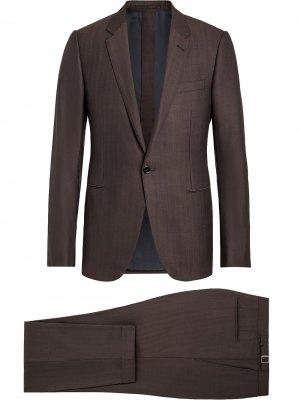Костюм-двойка с однобортным пиджаком Ermenegildo Zegna. Цвет: коричневый