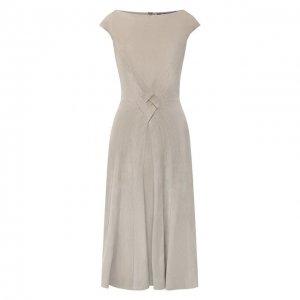 Замшевое платье Ralph Lauren. Цвет: серый