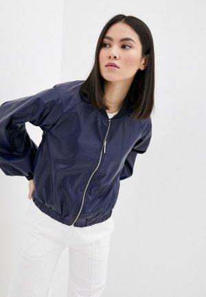 Куртка кожаная Rinascimento. Цвет: синий