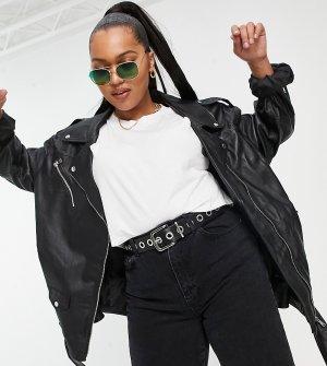 Черная кожаная байкерская куртка в стиле oversized Curve-Черный цвет ASOS DESIGN