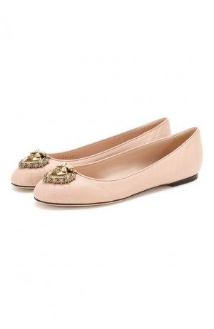 Кожаные балетки Devotion Dolce & Gabbana. Цвет: розовый