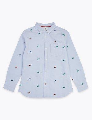 Рубашка Oxford, украшенная вышивкой скейтборд, из 100% хлопка Marks & Spencer. Цвет: синий микс