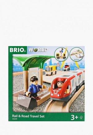 Конструктор Brio игр.наб. Ж/д со станцией, электричкой, автодорогой и переездом, 33 элемента. Цвет: разноцветный