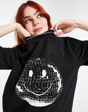 Черная свободная футболка с принтом смайлика House Of Holland-Черный цвет Holland