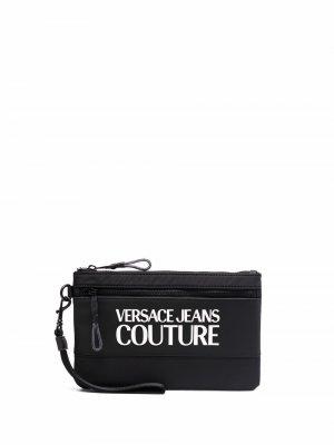 Кошелек с логотипом Versace Jeans Couture. Цвет: черный