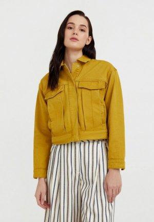 Куртка джинсовая Finn Flare. Цвет: желтый