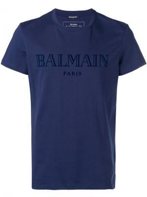 Футболка с логотипом Balmain. Цвет: синий