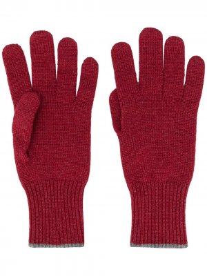 Кашемировые перчатки с контрастной отделкой Brunello Cucinelli. Цвет: красный