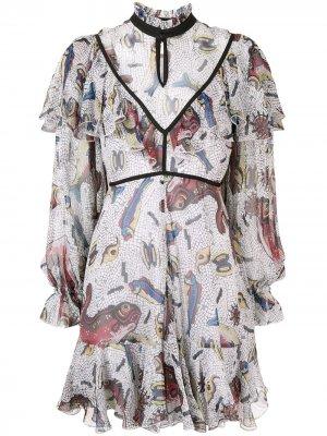 Платье Selene с оборками Karen Walker. Цвет: белый