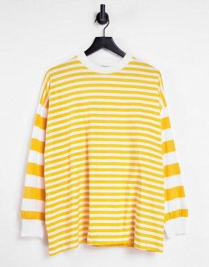 Oversized-лонгслив ярко-желтого цвета со вставками в полоску -Желтый ASOS DESIGN
