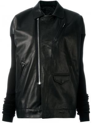 Кожаная куртка с рукавами в рубчик Rick Owens. Цвет: чёрный