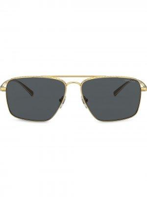 Солнцезащитные очки в квадратной оправе Versace Eyewear. Цвет: золотистый
