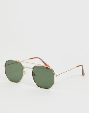 Солнцезащитные очки в золотистой шестигранной оправе -Золотой New Look