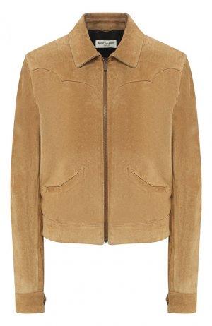 Кожаная куртка Saint Laurent. Цвет: коричневый