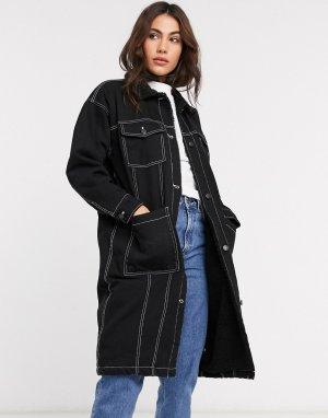 Длинное джинсовое пальто -Черный Monki