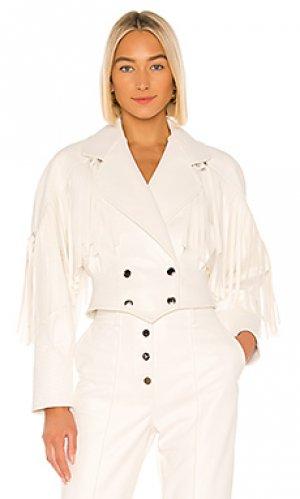 Кожаная куртка vegan leather Divine Heritage. Цвет: белый