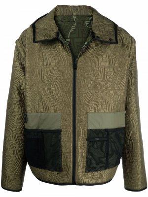 Двусторонняя стеганая куртка Fendi. Цвет: зеленый