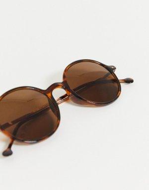 Черепаховые круглые солнцезащитные очки -Коричневый AJ Morgan