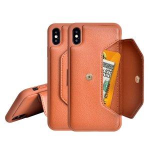 Простой чехол-кошелек для телефона SHEIN. Цвет: коричневые