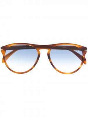 Солнцезащитные очки-авиаторы в оправе черепаховой расцветки Eyewear by David Beckham. Цвет: коричневый