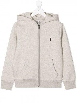Куртка с капюшоном и вышитым логотипом Ralph Lauren Kids. Цвет: серый