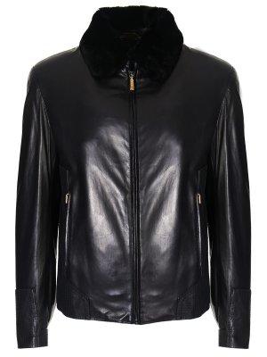 Кожаная куртка с мехом бобра ZILLI