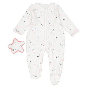 Пижама + мягкая игрушка звезда для новорожденных Préma - 2 года LA REDOUTE COLLECTIONS. Цвет: рисунок/белый