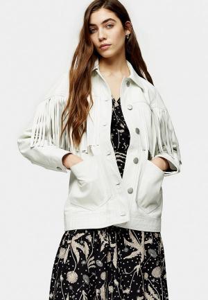 Куртка кожаная Topshop. Цвет: белый