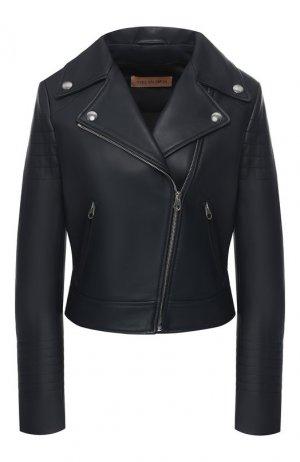 Кожаная куртка Yves Salomon. Цвет: синий