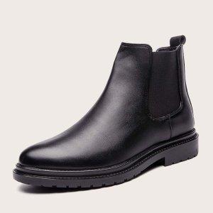 Мужские минималистские ботинки челси SHEIN. Цвет: чёрный
