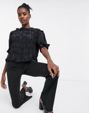 Атласная блузка со сборками -Черный Ghospell