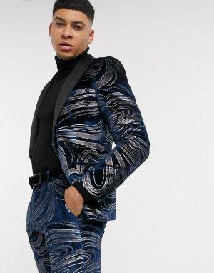 Темно-синий бархатный пиджак с фантазийным узором Twisted Tailor