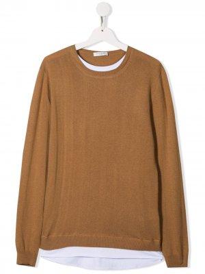 Двухцветный пуловер Paolo Pecora Kids. Цвет: коричневый